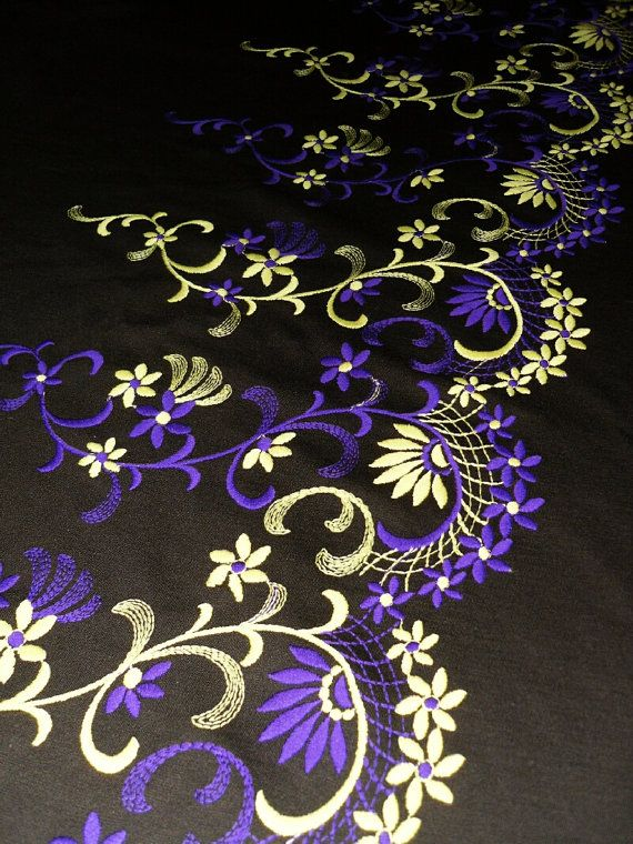 Dark brown base lilac-yellow floral embroidered fabric by gimmoka