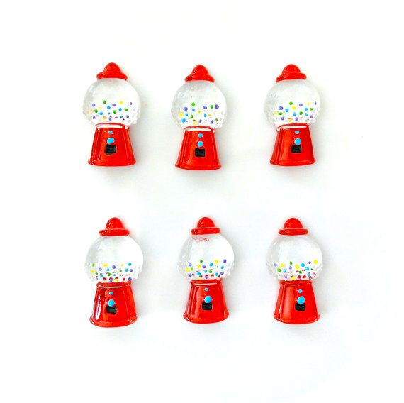 8  Red Gumball Bubble Gum Machine Resin by CraftyMissBettie