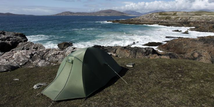 Camping Scotland  View of a pitched tent by the coastline near Horgabost on the Isle of Harris