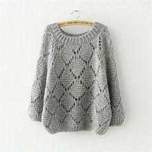 2015 otoño nuevas mujeres suéter tamaño grande batwing manga del cuello de O loose suéter de punto y para mujer ahueca hacia fuera el