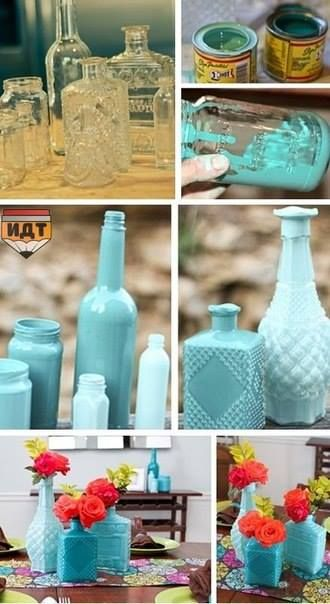 DIY paint bottles and jars! LOVE :)