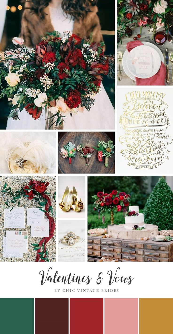 Valentines & Vows - Valentines Day Wedding Ideas in a Romantic Palette of Red & Gold