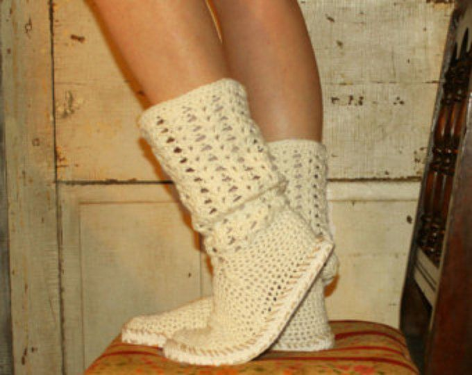 Crochet Boots Pattern Pdf-------Boho Style------BOOTS FOR the SUN--------style one-------breezy cotton boots for summer and street