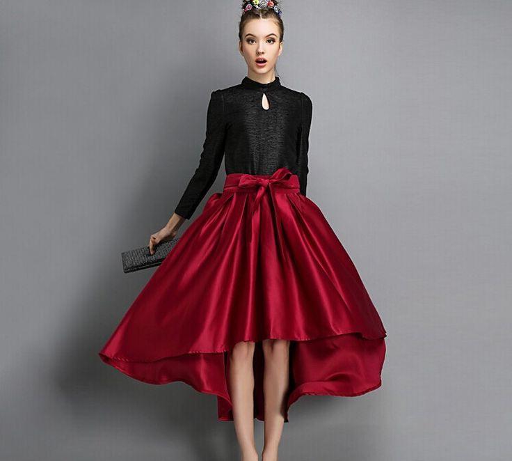 2015 весна лето макси юбка красный мода плиссированные юбки красный длиной до колен с высокая талия леди бальное платье saia