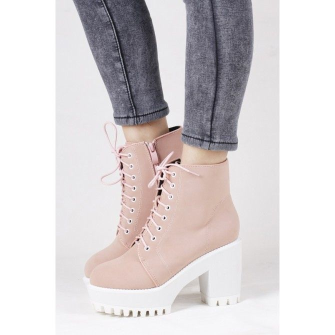 Pastel Chunky Sole Lace Up Boots.