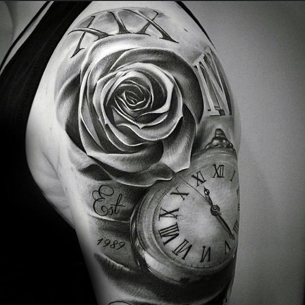 Shaded Black And Grey Ink Guys Roman Numeral Rose And Pocket Watch Half Sleeve Tattoo