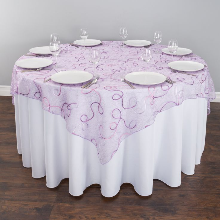 Lavender Embroidered Web Organza Overlays For 5 Ft. Tables At  LinenTablecloth. Our Beautiful Table Overlay Takes The Subtlety Of Sheer  Delicate Organza To A ...