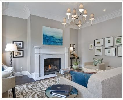 Love these warm, light grey walls. For Cullen's room re-do?  Paint color: Benjamin Moore Abalone