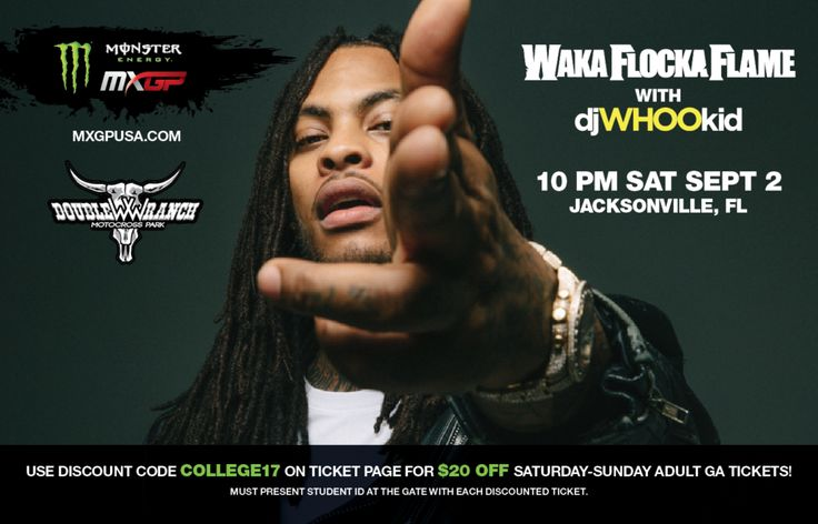 Waka Flocka Flame tickets are available, September 2nd 10pm at WW Motocross Park Jacksonville.  Use this coupon for a $20 Discount.