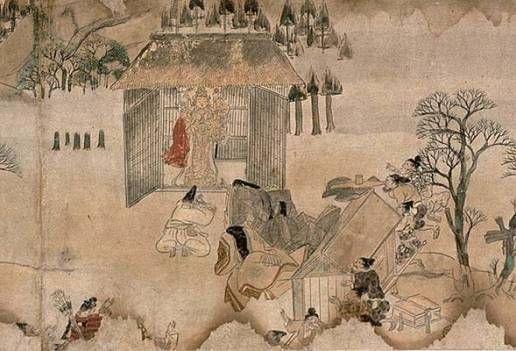 """106. Rotolo dei """"Racconti del tempio Kowakadera"""" (Kowakadera Engi emaki), seconda metà del XII secolo. Colore su carta, particolare (h. cm. 30,8). Prefettura di Wakayama, Kowakadera."""