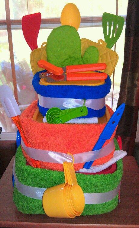 Bright dish rag cake for a wedding shower..