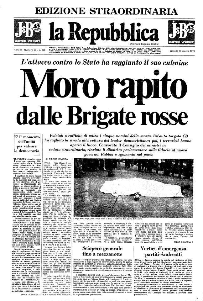 La Repubblica - 17 marzo 1978 Moro rapito dalle Brigate rosse
