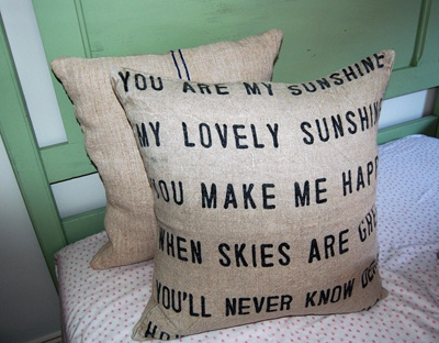 you are my sunshine <3: Sunshine Pillows, Linens Pillows, Sunshine Linens, Decorative Pillows, Burlap Pillows, Baby Ideas, Living Room, Sugarboo Design, Decor Pillows