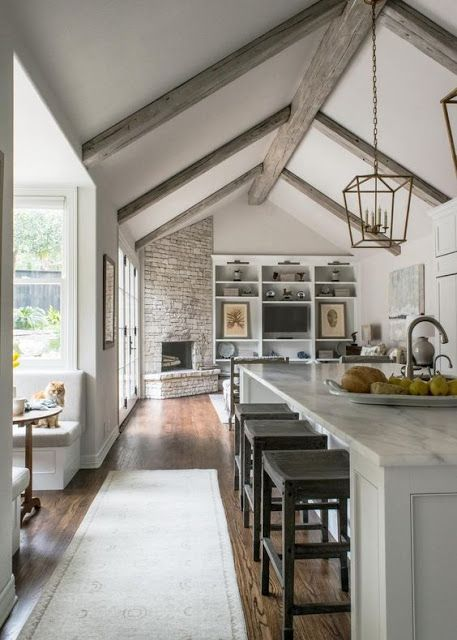 Love The Silver Bat Wood Beams Fireplace Ideas In Kitchen Corner Stone