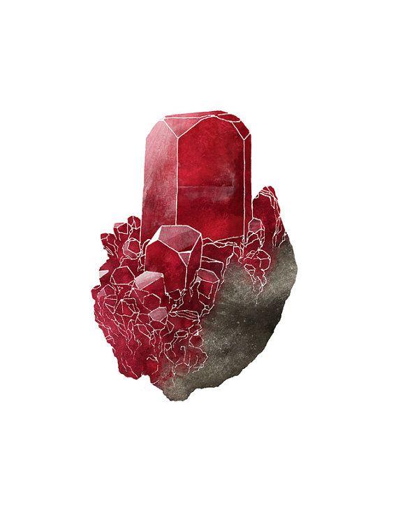Ruby Crystal Gemstone 5 x 7 Giclee Art Print by LaPetiteMascarade, $10.00     C's birthstone