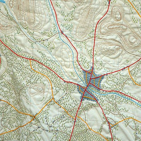 Walking holiday - in your dreams (detail) - 800mm x 500mm  embroidered map by Anne Biss