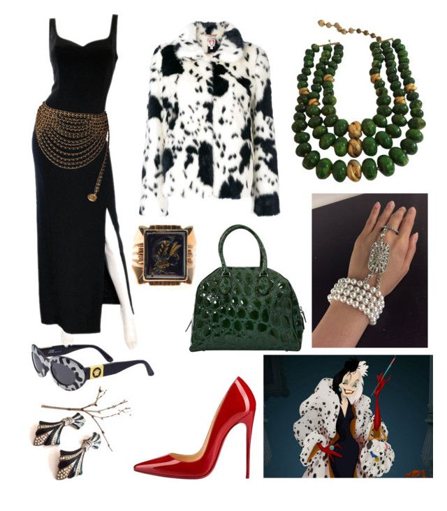 """My Style: Cruella De Vil Theme"" by hellenrose7292 on Polyvore featuring Disney, Shrimps, Versace, Bob Mackie, Christian Louboutin, Alaïa, Castlecliff and Karl Lagerfeld"