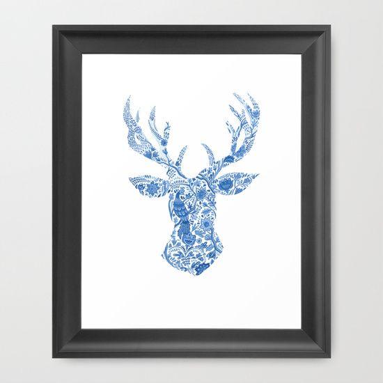 The Deer Framed Art Print by Sally Leaney - $36.00