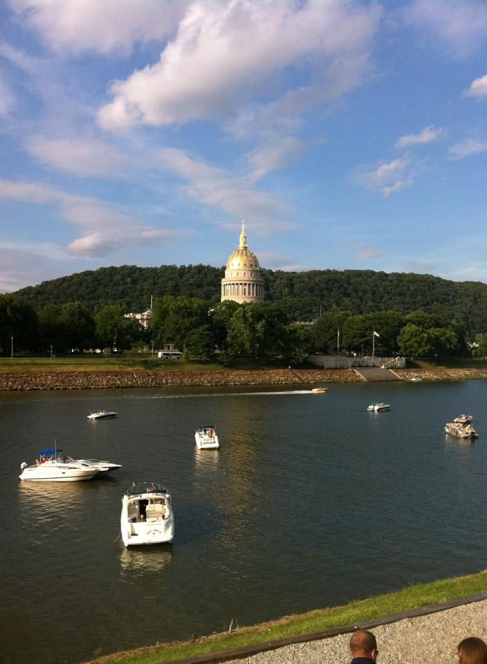 View of the West Virginia State Capitol across the Kanawha River from the campus of the University of Charleston