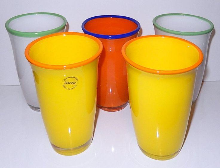 DANSK Drinking Glasses Glass Tumbler SET 5 Orange Yellow White BORDERLINE Design #Dansk