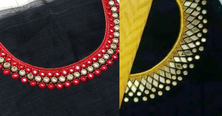 Mirror work dress designs, Mirror work suit neck designs ...