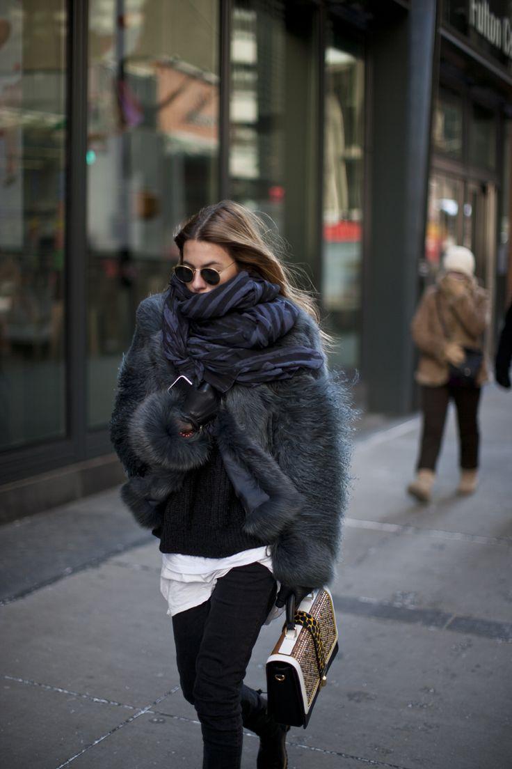 bundle up! oversized scarf, fur coat, street style