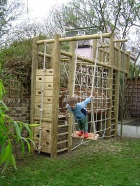 Two tower climbing frame with swing