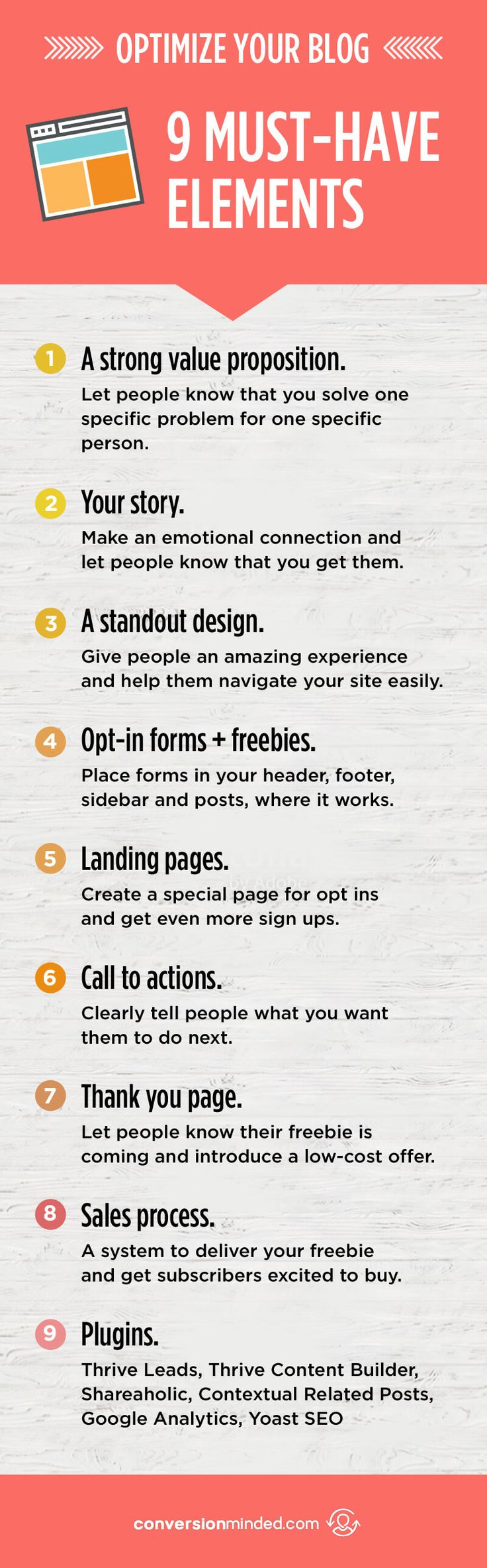 9 Steps to Optimize Your Website For More Traffic + Customers | Ever feel like your website should be working harder for you? This post is for you! It includes 9 elements every blogger and entrepreneur needs to get more customers and subscribers, even while you sleep. Click through to see!