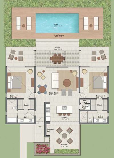 This floor plan of a 2 bedroom 2 bathroom #villa shows the signature #barefootluxury that each Sailrock residence provides.