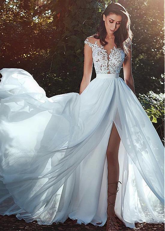 Lilybridalshop gracioso tule e chiffon jóia decote a linha vestido de noiva com renda …   – Hochzeitkleider