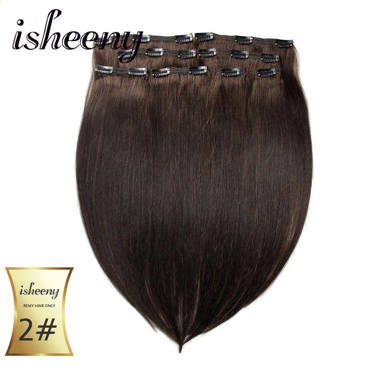 """Isheeny Remy Human Hair Clip i forlængelser 18 """"2…"""