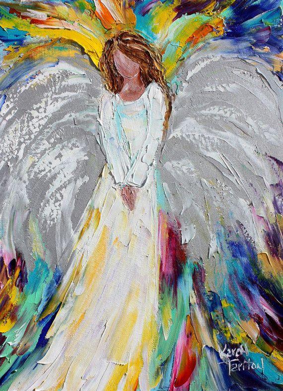 Original oil painting Guardian Angel palette by Karensfineart