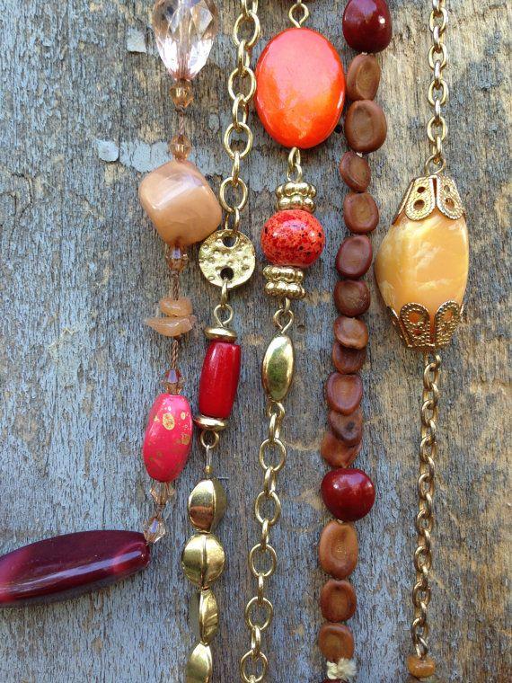 Boheemse sieraden rood kralen ketting oranje ketting rode