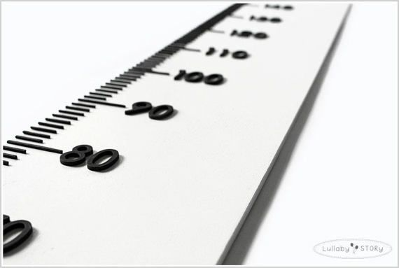 White Growth chart-Wooden ruler-Simple-Scandi by LullabySTORY