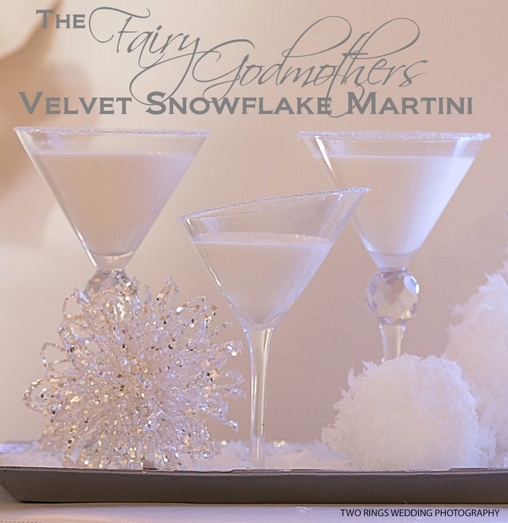 The Fairy Godmother Velvet Snowflake for New Years Eve! 2 parts vanilla vodka 1 part white creme de cacao 1 1/2 parts white chocolate Irish cream Garnish with white chocolate girls or cake sparkles (or if you are like us, both!)