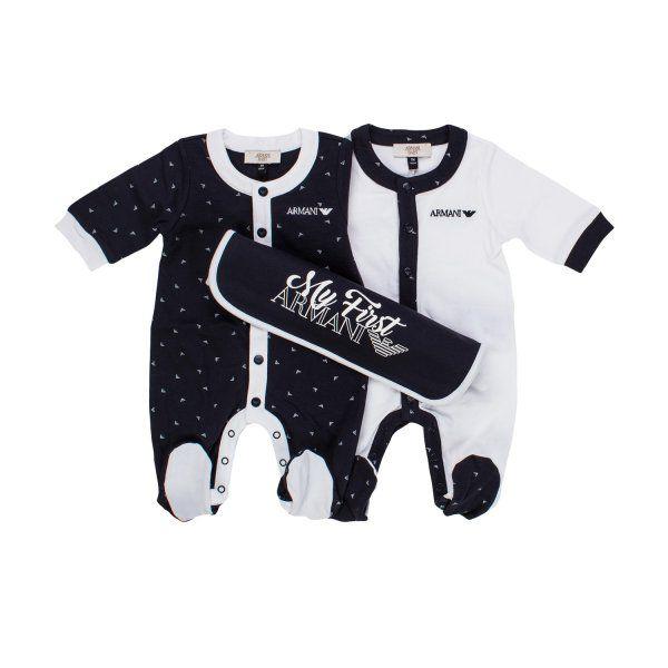 """ARMANI JUNIOR - SET TUTINE BIANCA E BLU BIMBO BEBÉ Esclusivo set bebè con due tutine """"My First Armani"""" una bianca e una blu della nuova Collezione P/E 18 - Linea di abbigliamento e accessori nascita/Neonato. #Armani #armanijunior #kids #neonato #abbigliamento #firmato #moda #madeinitaly #bebè #infantil #annameglio #shopping #shoponline"""