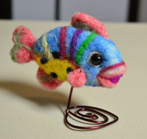 Needle Felted Fish, I like putting it on the little wire!