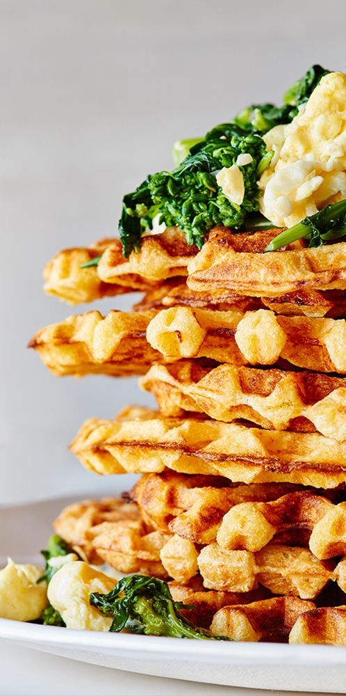 Cheddar Waffles with Garlicky Broccoli Rabe & Scrambled Eggs