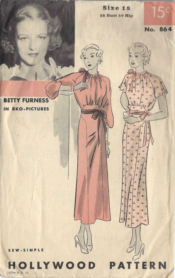 e2ba04dbc 1930s Vintage Sewing Pattern B36 DRESS (1466) Betty Furness ...