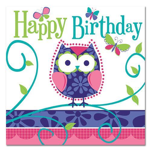 Party Ark's 'Woodland Owl Happy Birthday Napkins'