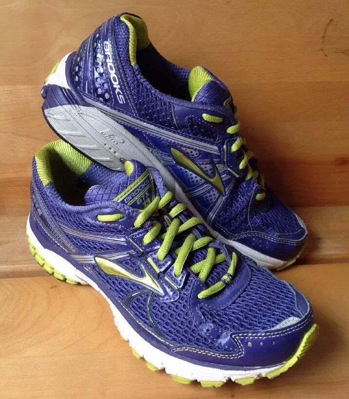 Brooks Adrenaline GTS 13 Purple Lime Green Womens Running Shoes 6 5 Sneakers  | eBay