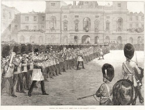 Trooping the Colours in St. James's Park on her Majesty's Birthday.  Original wood cut engraving as published in The Illustrated London News, June 5th, 1875.