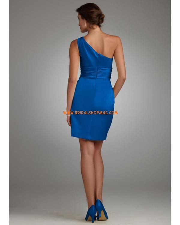Satin One Shoulder Dress with Ruched Waist