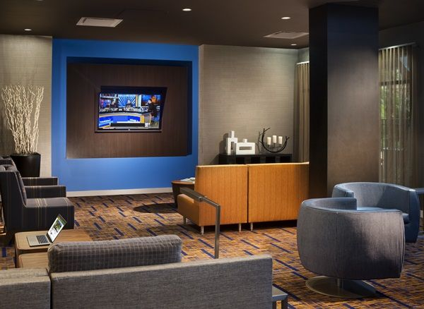 The Lobby Lounge at the Courtyard Orlando Lake Buena Vista in the Marriott Village is perfect for productive work sessions.