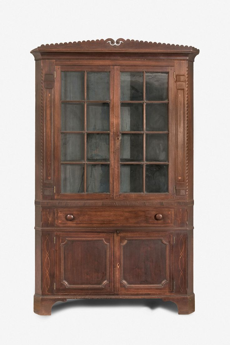 "Fig. 87: Corner cupboard attributed to John Swisegood, ca. 1830, Davidson Co., NC. Walnut with yellow pine, tulip poplar, and light- and dark-wood inlay; HOA: 91-1/2"", WOA: 48"", DOA: NR. Private collection. MESDA Object Database file S-1299. <a onclick='return hs.printImage(this)' href='#'>Print</a>"