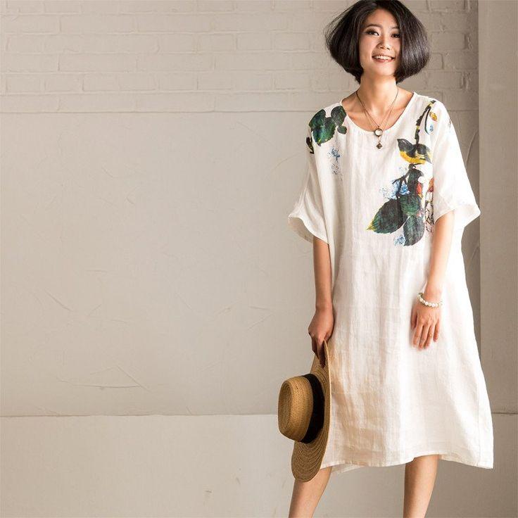 Summer White Art Loose Ink Printing Cotton Linen Dress Women Clothes Q1617A