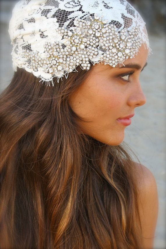 Lace Bridal Cap (Vintage Ivory or White Lace with hand set Swarovski Crystals)