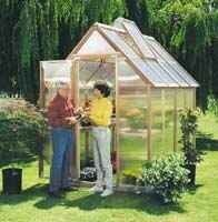 Garden House Kit 6' x 8' . $1799.99. This Greenhouse is a MUST! Narrow enough to fit in a limited space, the kit is made with a clear redwood frame, twin wall polycarbonate and includes two vents with automatic vent openers, Dutch door and a base made with recycled plastic. You can easily assemble your garden house in a short time. This model will take two people about three to four hours to complete. The kit comes with easy to follow printed instructions as well as a h...