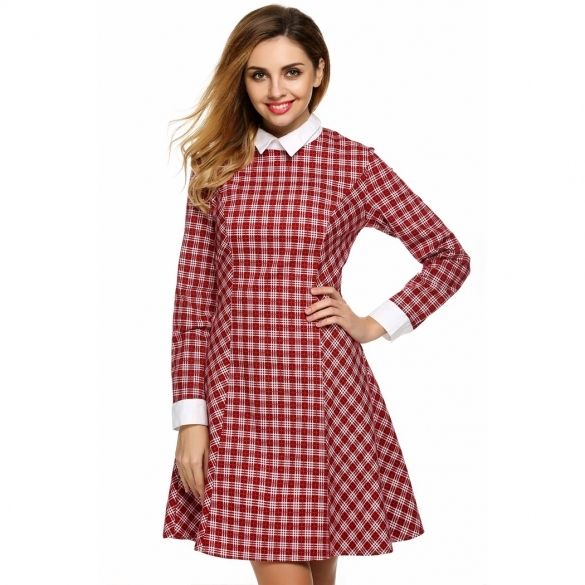 Brand: FINEJO  Material: Cotton Blend  3 Colors: Red, Black, Blue  Collar: Doll Collar  Sleeve: Long Sleeve  Style: Plaid Dress  Zipper: Back Zipper  Dress Length: Knee Length  Pattern: Plaid  Occasion: Casual  Garment Care: Hand-wash and Machine washable, Dry Clean  Unique style, create a illusion for stunning curves, make you more beautiful, fashion, sexy and elegant.   Size  Shoulder  Sleeve  Chest  Waist  Center Back Length M 40.6 cm 15.8 inch 60.5 cm 23.6 inch 98 cm 38.2 inch 79 cm…