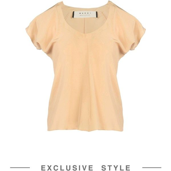 Marni Blouse (€265) ❤ liked on Polyvore featuring tops, blouses, beige, short sleeve tops, short sleeve silk top, beige blouse, v neck blouse and marni blouse